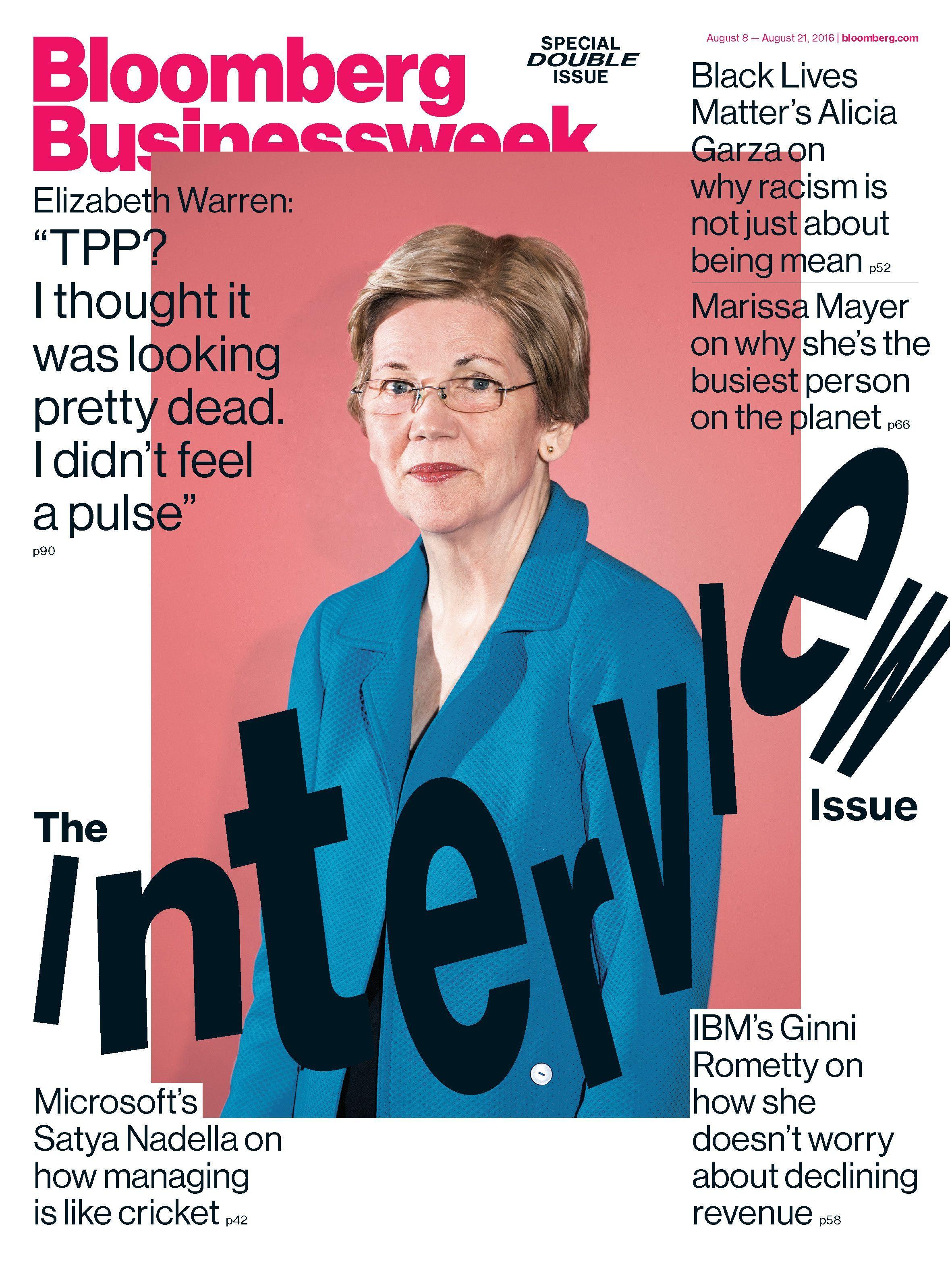Bloomberg Businessweek Magazine Interview Issue with Elizabeth Warren 2016