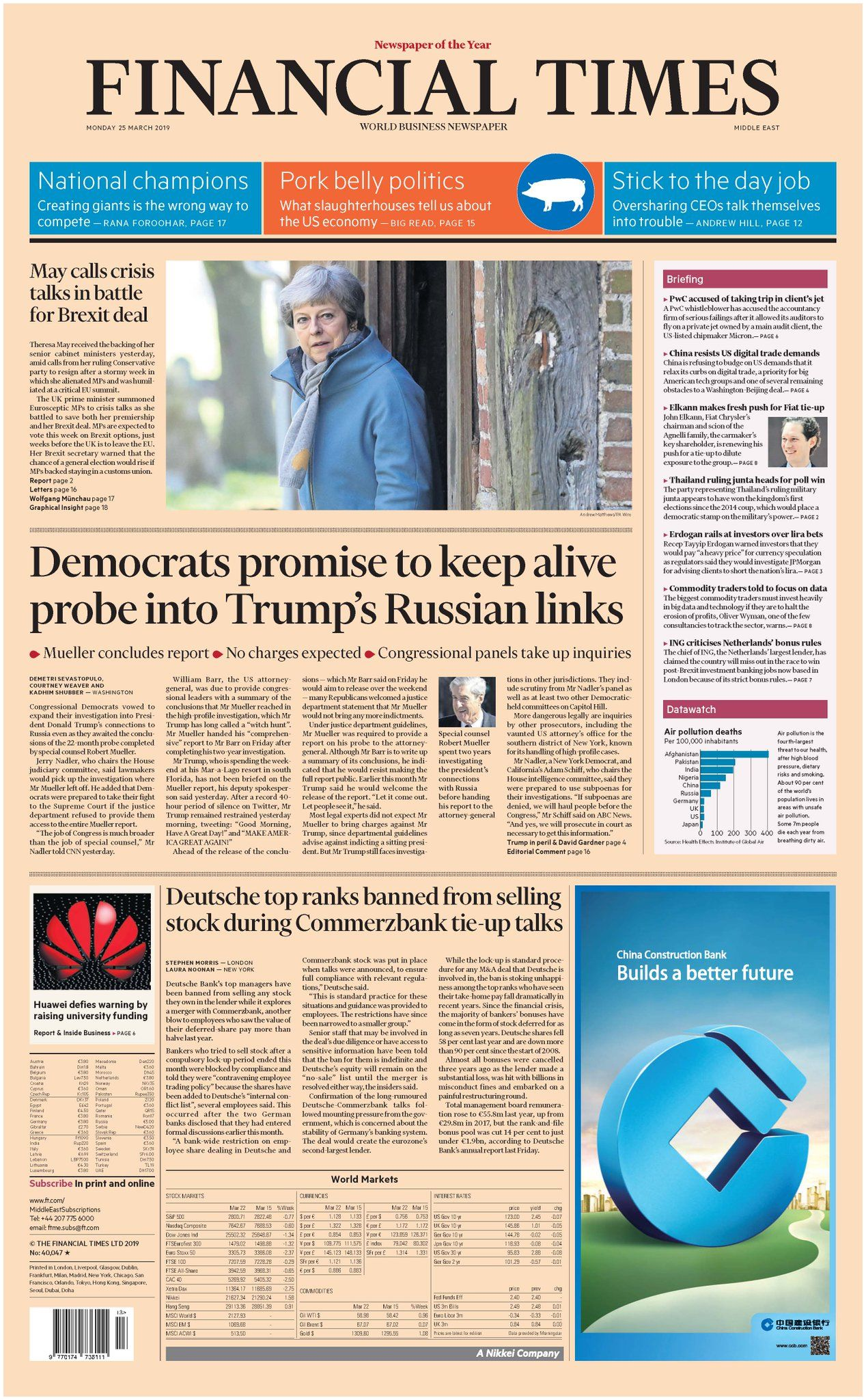 """Financial Times on Twitter """"Just published front page of the Financial Times international edition Monday 25 March """""""