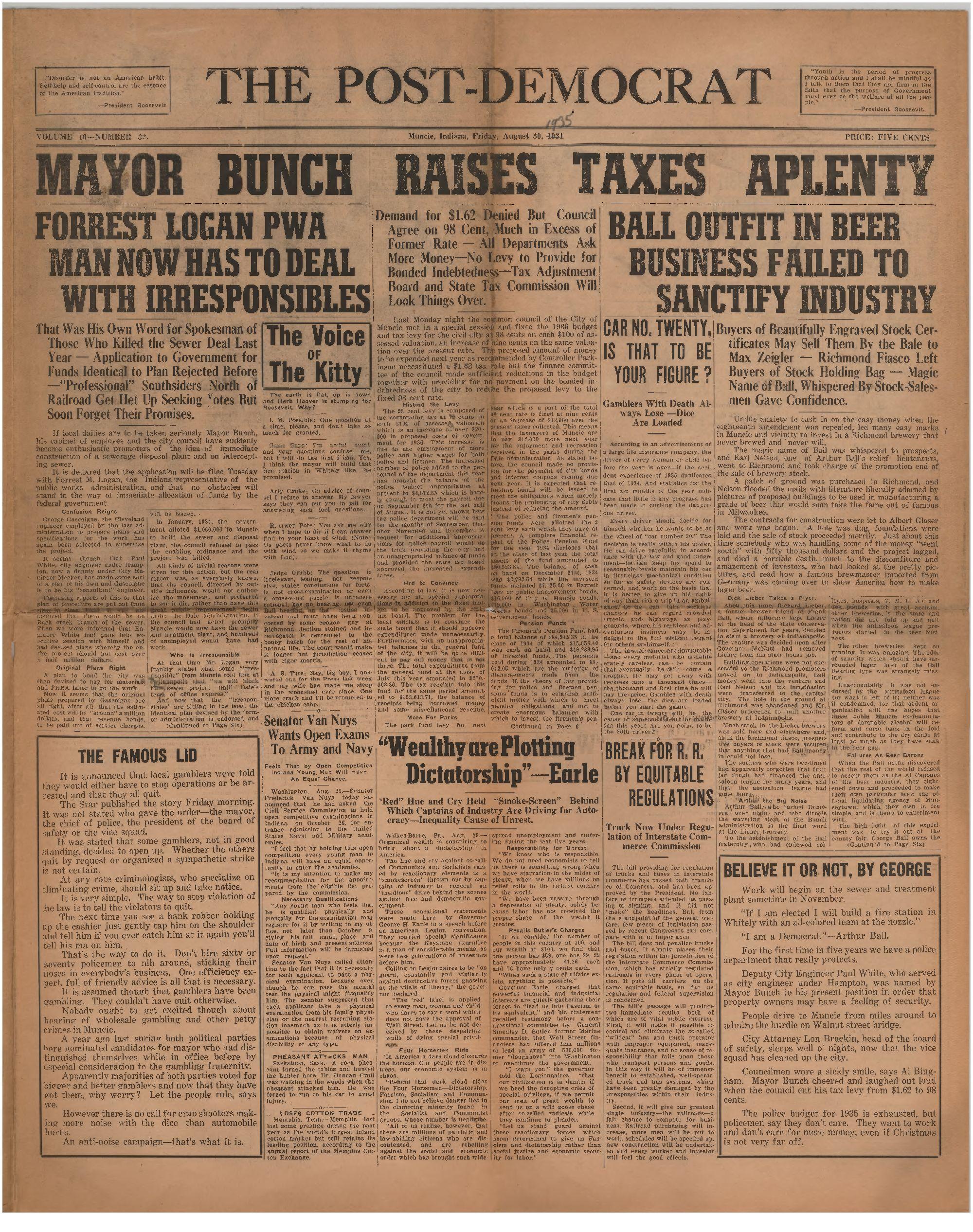 Hawaii Business Magazine Post Democrat Muncie Ind 1935 08 30 Vol 16 No 32 Muncie