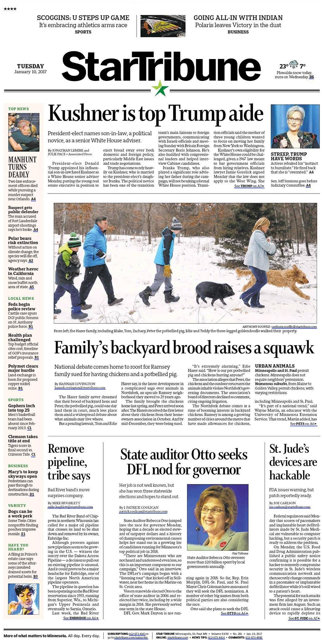 Top 10 Business Newspapers Star Tribune 10 01 2017 Front Page Headline Stories