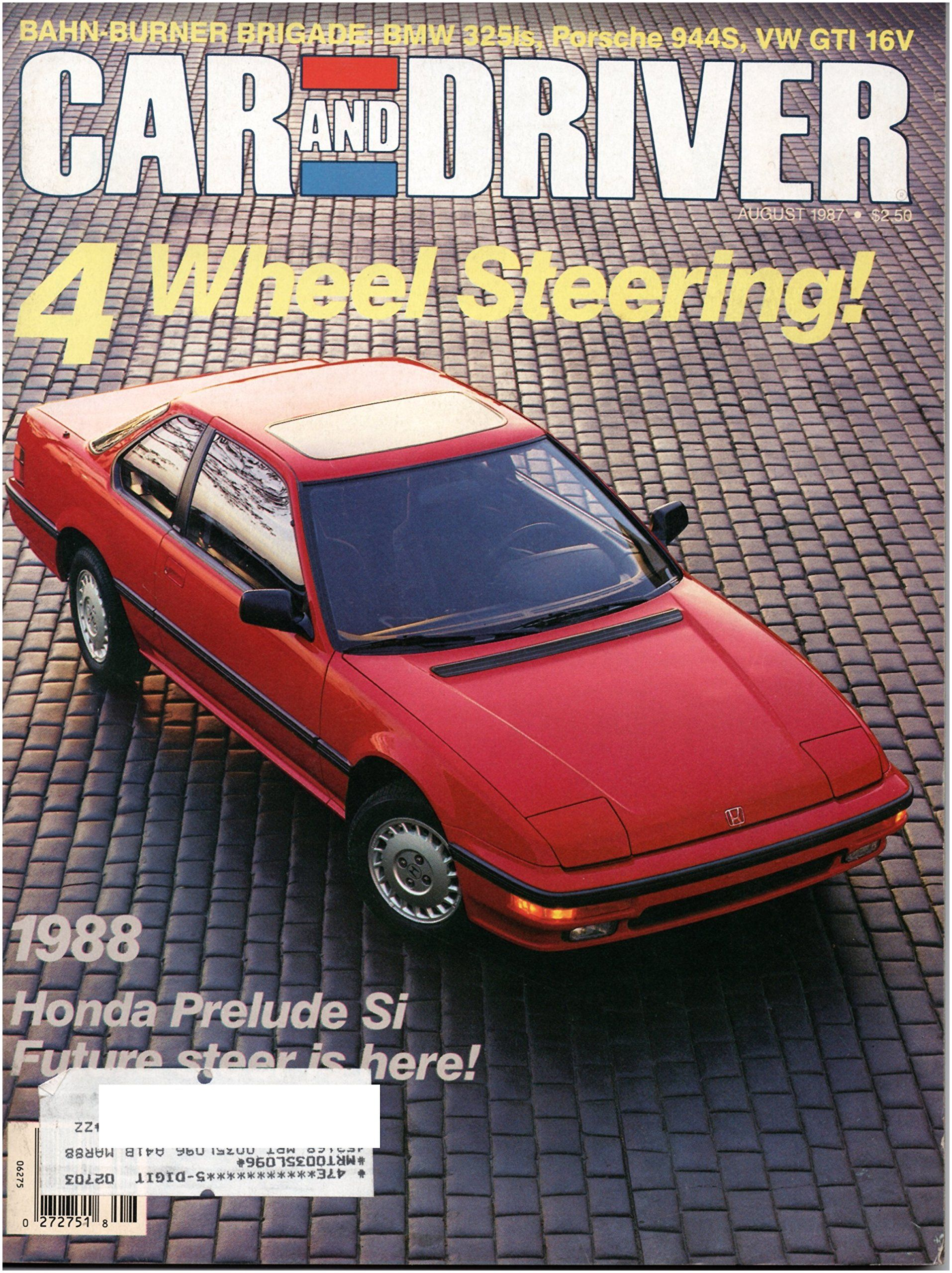Car and Driver Magazine August 1987 Vol 33 No 2 Single Issue Magazine – 1987