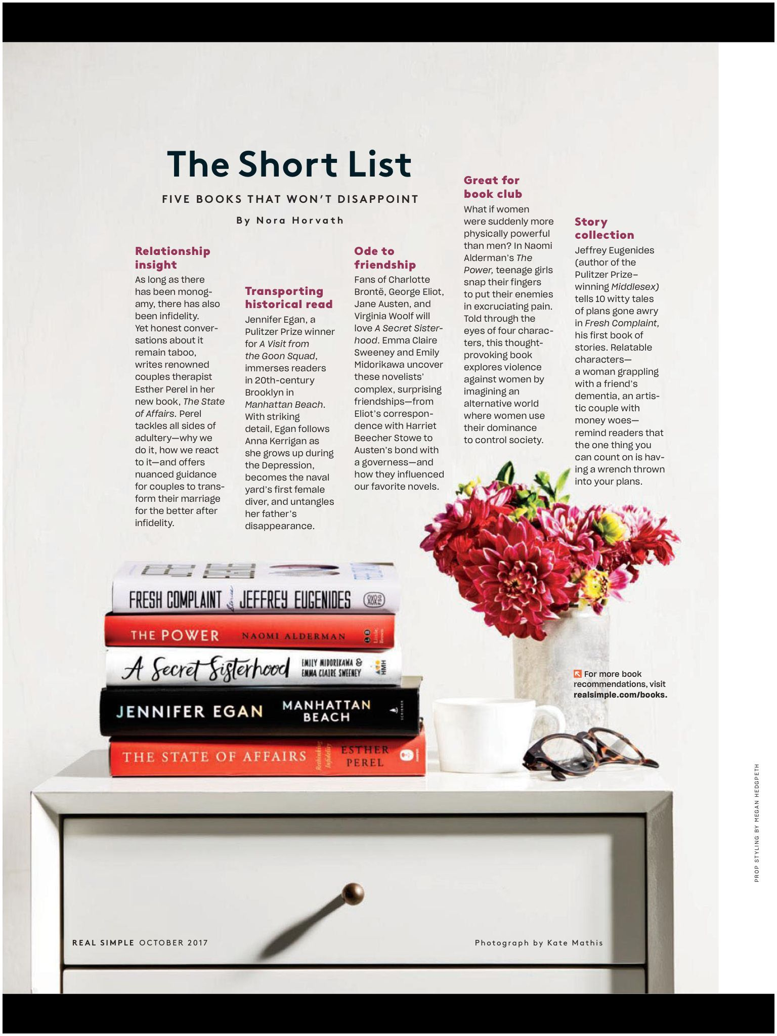 "Good Magazines to Read the Short List"" From Real Simple October 2017 Read It On the"