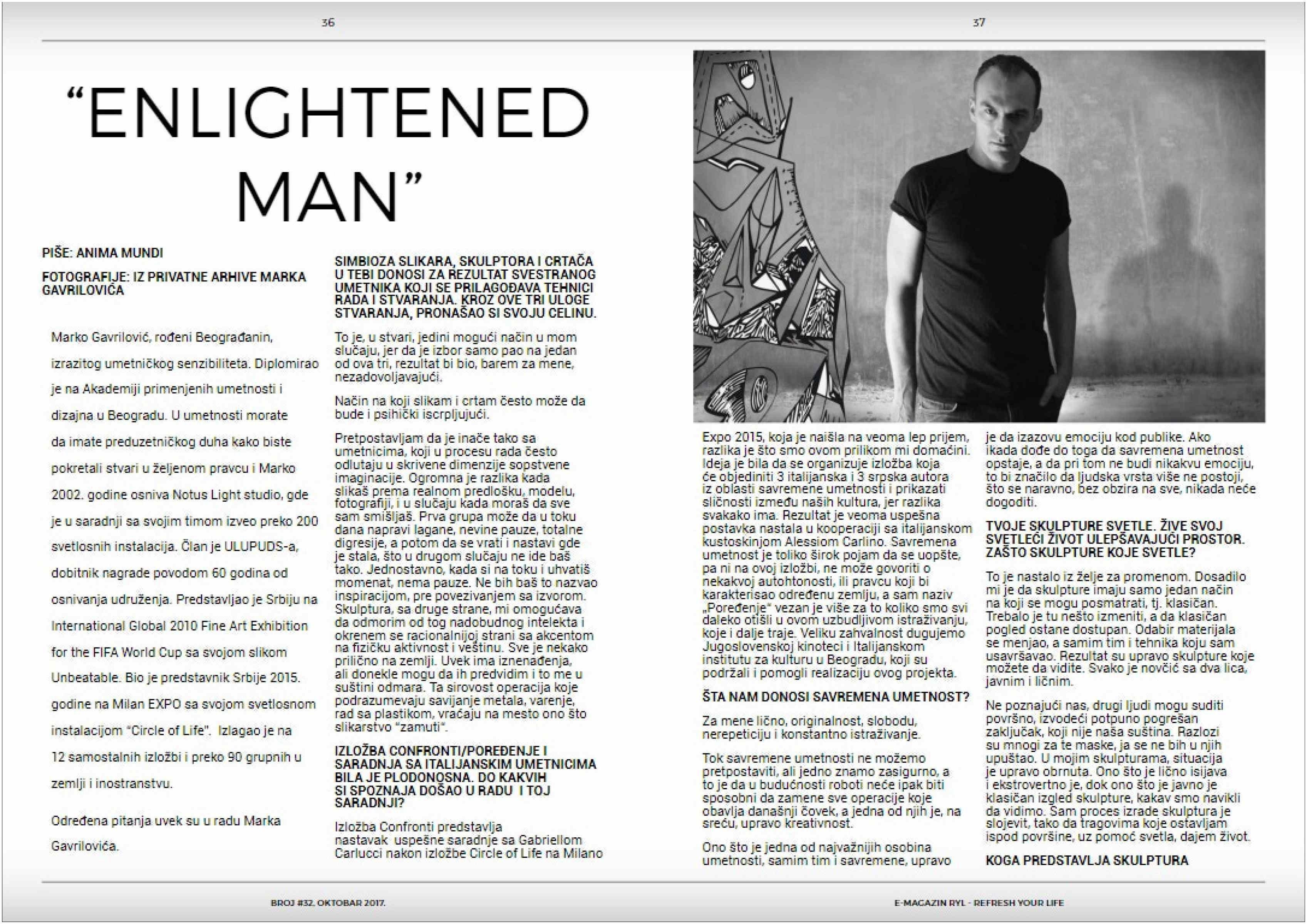 Interview Magazine Masthead Artist Marko Gavrilovic Interview for the Ryl Magazine