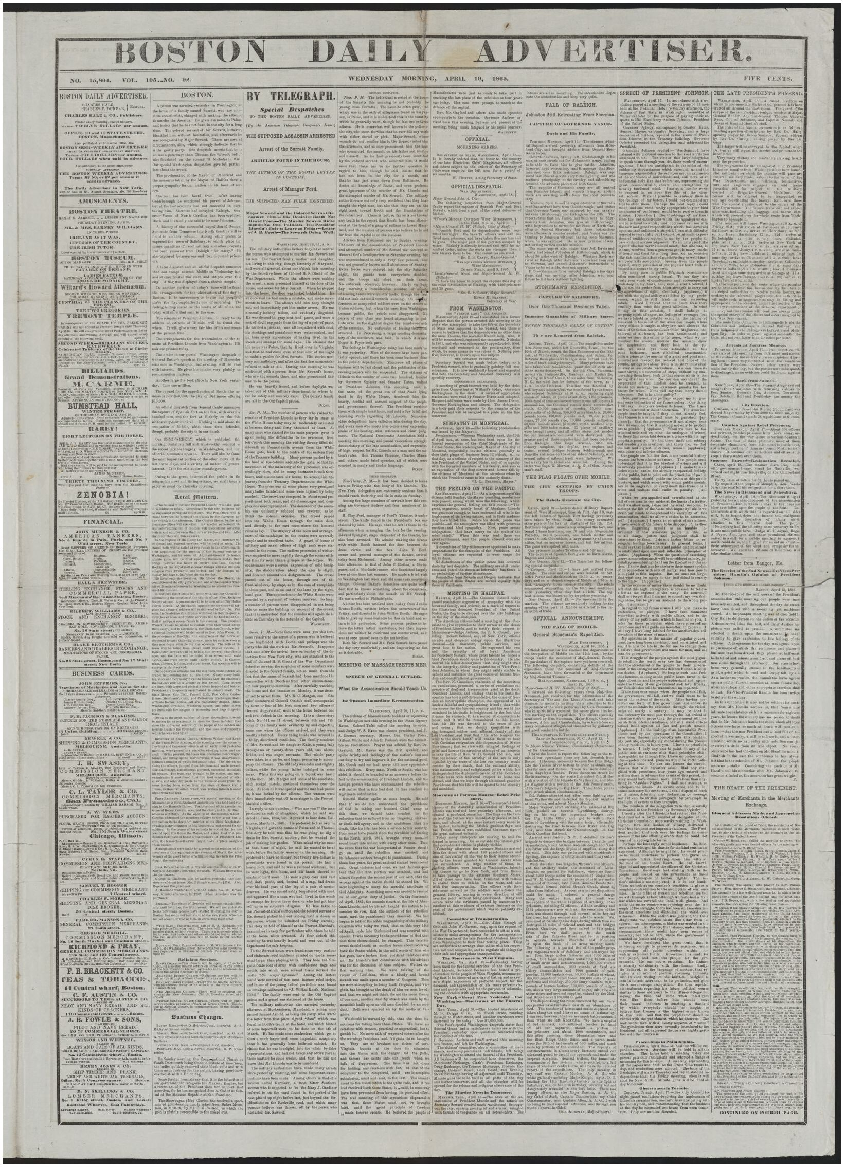North Of Boston Business Magazine Image 1 Of Boston Daily Advertiser [newspaper] April 19 1865
